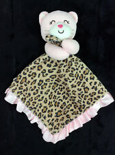 Carters Baby Security Blanket Pink Brown Leopard Cheetah Kitty Cat Rattle
