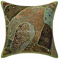 Traditional Cotton Cushions Covers Green 40cm x 40cm Beaded Neck Pillow Covers