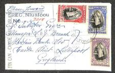 TONGA #70-72 STAMPS MARIPOSA SHIP POSTCARD TIN CAN MAIL REGISTERED COVER 1939