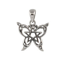 Small Sterling Silver Butterfly Pentacle Pendant - Dryad Design Wiccan Talisman