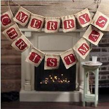 Vintage Decoración de Navidad empavesado arpillera tela 2 Cuerdas Feliz Navidad