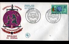 DAKAR (REPUBLIQUE du SENEGAL) Anniversaire DROITS DE L'HOMME / Enveloppe 1° JOUR