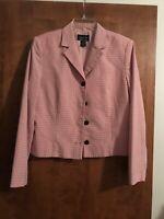 Chapter One Sportswear Inc Women's Fitted Jacket Blazed Lined Pink/Black- Sz 14