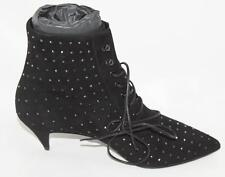 AUTH YSL Saint Laurent Black Suede Crystal Low Heel Boot 39