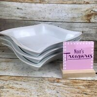 Pier 1 WAVY Solid White Porcelain Deep Dish Sided Wave Edge Dinner Plate Set 3