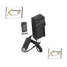 TWO 2 Batteries + Charger for Sony DSC-W350P DSC-W350S DSC-W360 DSCW320 DSCW350P