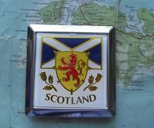 Car Mascot Badge : Scotland Lion Rampant  Thistle Saltire - Square with Fittings