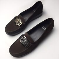 Stuart Weitzman Brown Suede Leather Buckle Chain Detail Loafers Women Size 7.5
