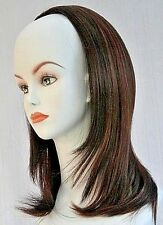 Shoulder Length Straight Hair 3/4 Cap Fall Half Wig Hairpiece w/ 2 combs sewn in