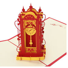 3D Swing Clock Greeting Card Pop Up Paper Cut Postcard Birthday Valentines Gift