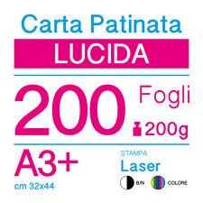 CARTA PATINATA LUCIDA A3+ (cm 32x44) 200g PER STAMPANTI LASER - 200 FOGLI