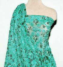 Stretch Mesh Lace Ribbon Sequin Fabric Mint , Pageant ,Formal Dress (Reduced)