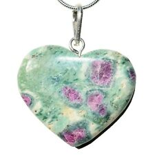 """Charged Himalayan Ruby / Fuchsite Crystal Heart Perfect Pendant™ + 20"""" Chain"""