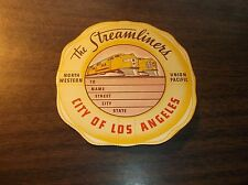 1930's UNION PACIFIC CITY OF LOS ANGELES STREAMLINER LARGE LUGGAGE STICKER