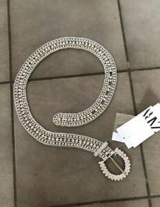 """Zara Silver Jewel Belt With Rhinestones 32"""" Bnwt"""