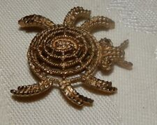 Textured Beetle Scarab Pin Brooch Vintage Mamselle Open work Gold Tone
