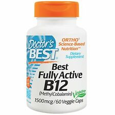 VITAMIN B-12, B12  60 VEG CAPS DOCTORS BEST1500mcg .FULLY ACTIVE METHYLCOBALAMIN