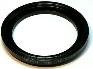 Tiffen 46mm to 52mm Step-up ring Metal adapter  double threaded made in USA