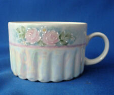 tea cup 4 oz mug hand painted by Winnie USA Pink Roses pearlized iridescent