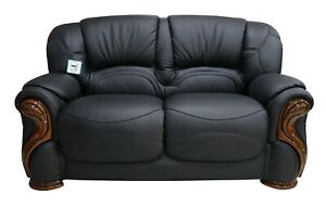 Susanna 2 Seater Italian Black Leather Sofa Settee Couch Contemporary