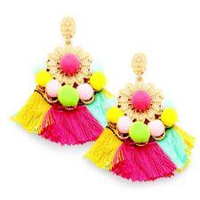 Multi-Coloured Pom Pom Tassel Boho Earrings -UK SELLER