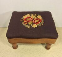 Antique Walnut Footstool w/ Needlepoint w/ Turned Legs Colonial Style