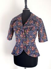 1960s Vintage Cord Victorian Style Fitted Short Sleeved Jacket Steampunk 6 8