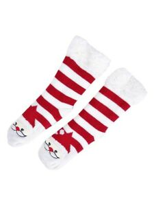 A LOT of 6 Charter Club Women's Santa Stripe Fleece Gripper Socks, L/XL, Red