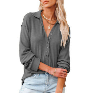 Womens Long Sleeve Casual Loose Knitted Shirt Cardigan Fall Baggy Tunic Button