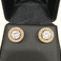 2 Ct AAA Cubic Zirconia Halo Stud Earrings Women Jewelry 14K Yellow Gold Plated