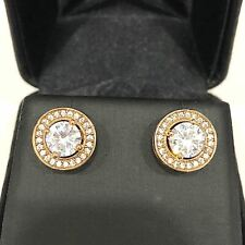 2 Ct AAA Cubic Zirconia Halo Stud Earrings Women Jewelry 14K Yellow Gold Plated