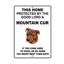 Mountain Cur Dog Home protected by Good Lord and Novelty Metal Sign