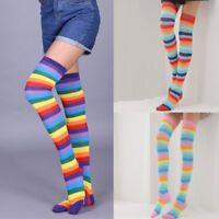 Women Rainbow Striped Long Boot Thigh High Stockings Knitted Socks Leg Warmer