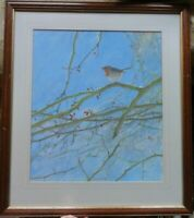 Original Watercolour Art Painting of Bird, Robin, tree, winter, by Ian Claxton