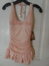 Juicy Couture Beach Royalty NWT Halter Swimdress W/ Ruffle Skirt Petite Pink