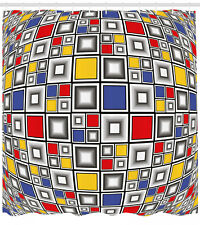 """Geometric Shower Curtain Colored Mosaic Square Print for Bathroom 84"""" Extralong"""