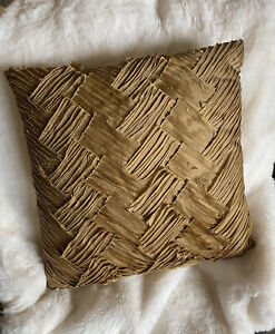 """Z Gallerie Home Decor Accent Pillow Textured Glam Gold Square 17"""" X 17"""""""