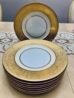 Set of 8 Hutschenreuther Selb Gold Encrusted Dinner Plates VGC