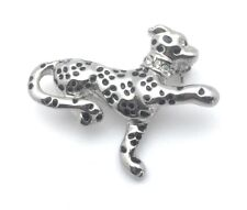 Cat Brooch Cougar Pin Crystals Silver Plated Metal Black Enamel Valentines Gift