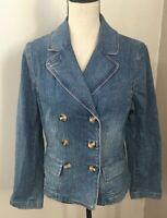 Loft Women's Denim Blue Jean Button Front Double Breasted Jacket Size 10 Petite