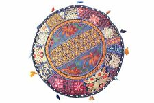 "18""Round Pouffe Cover Indian Handmade Vintage Cotton Footstool Ottoman Patchwork"