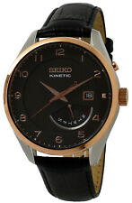 Seiko Kinetic Automatic Brown Dial Leather Men's Watch SRN070