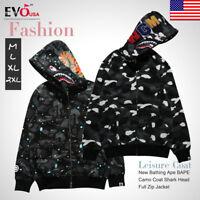 A Bathing Ape Camouflage Coat Shark Head Full Zip Jacket Hoodie Sweatshirt