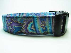Charming Blue & Purple Paisley Accented in Gold Dog Collar