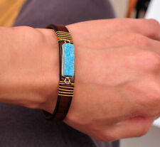 DIY Craft Natural Druzy Turquoise Genuine Leather Bracelet Cuff Wristband Brown