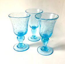 Superbe 3 Verres A Pied Biot  À Vin Couleur Bleu Turquoise