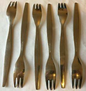 Six Vintage Mid Century Gense Folke Arstrom Focus Stainless Steel Salad Forks