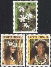 Polinesia FRANCESE 1990 TIARE/Fiori/Piante/NATURA/Copricapo/Costume 3v (n37508)