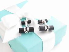 Tiffany & Co Silver Onyx Cufflinks Cuff Links Packaging Box Pouch Ribbon