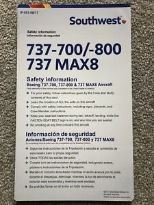Southwest Airlines Boeing 737 700 / 800 / MAX8 Series Safety Card IF-551-08/17